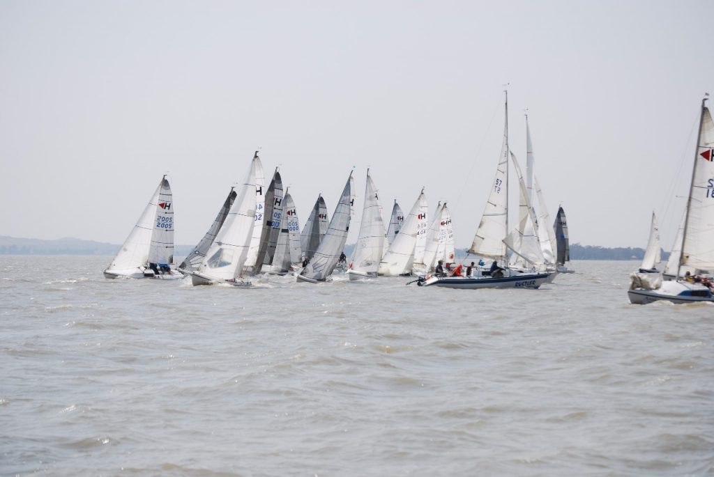 The fleet rounding the weather mark