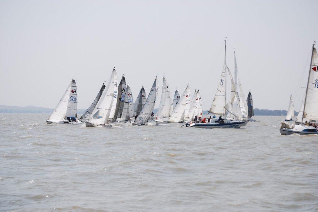 The fleet rounding the weather mark